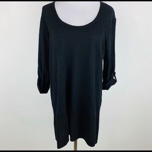 ANTHROPOLOGIE Left of Center Black Tunic Top sz M